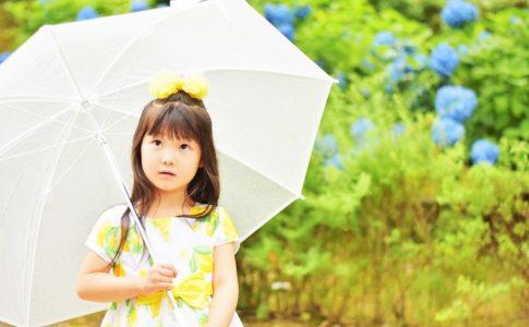 雨の中で傘をさす女の子