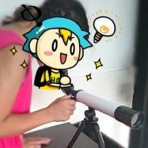 塾生が天体望遠鏡を使っている様子