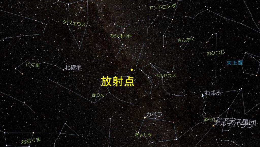 ペルセウス座流星群の放射点(8月15日1時)