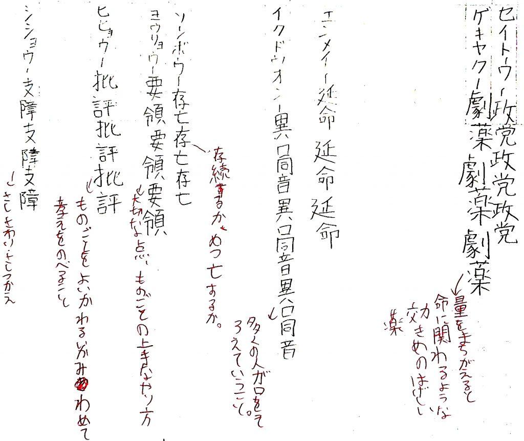 ファイの小学生の漢字のノート