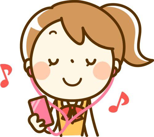 音楽を聴いている中学生のイメージ