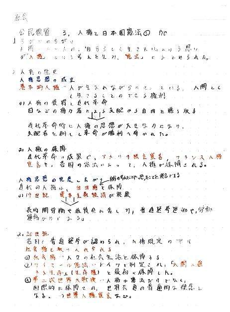 塾生の公民のまとめノート