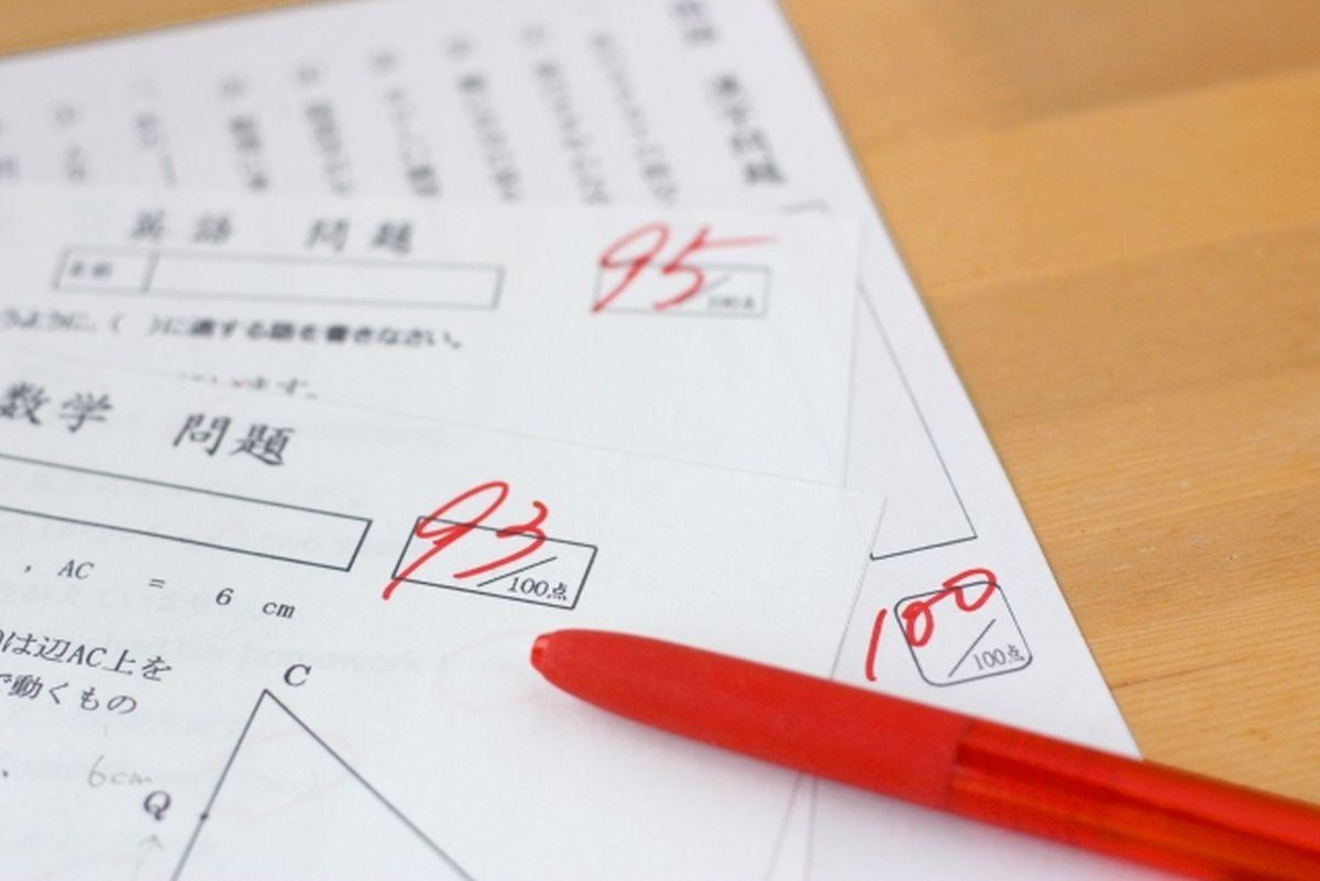 返却されたテストの答案用紙