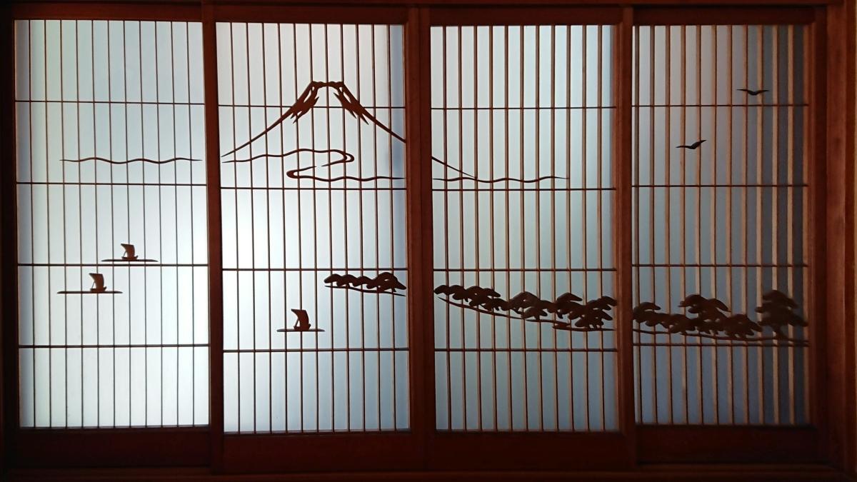 富士山が描かれた障子