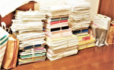 受験終了後の問題集と参考書の山