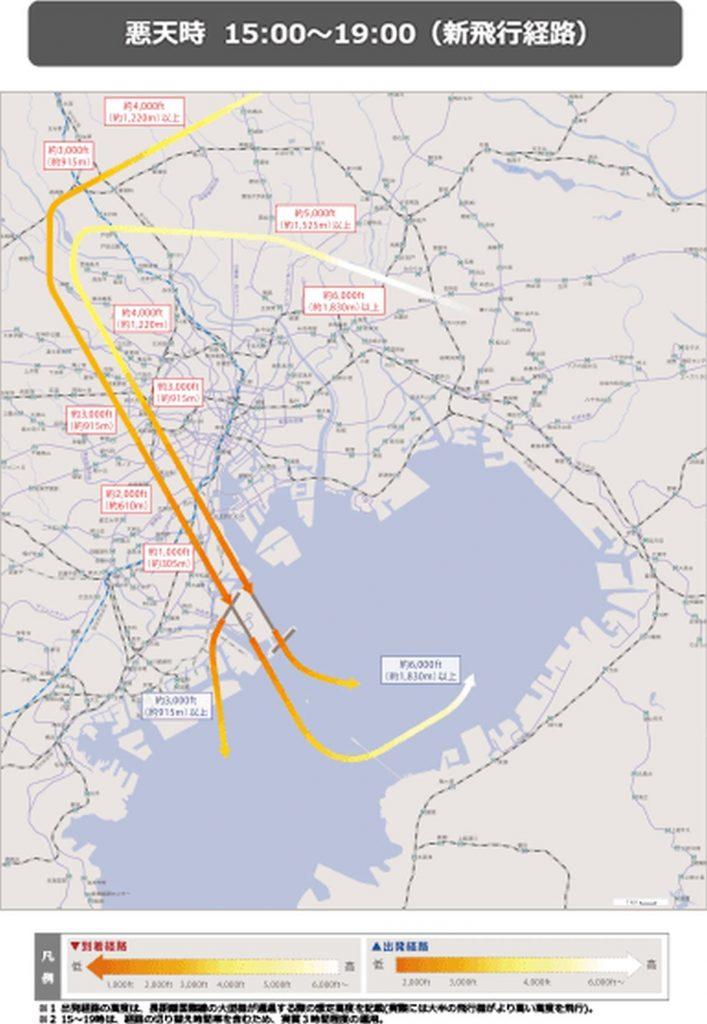 羽田空港の新飛行経路、南風悪天時
