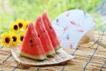 スイカとうちわによる夏のイメージ