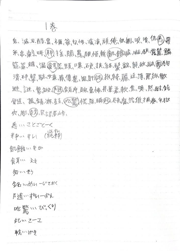 鬼滅の刃に出てくる漢字のリスト