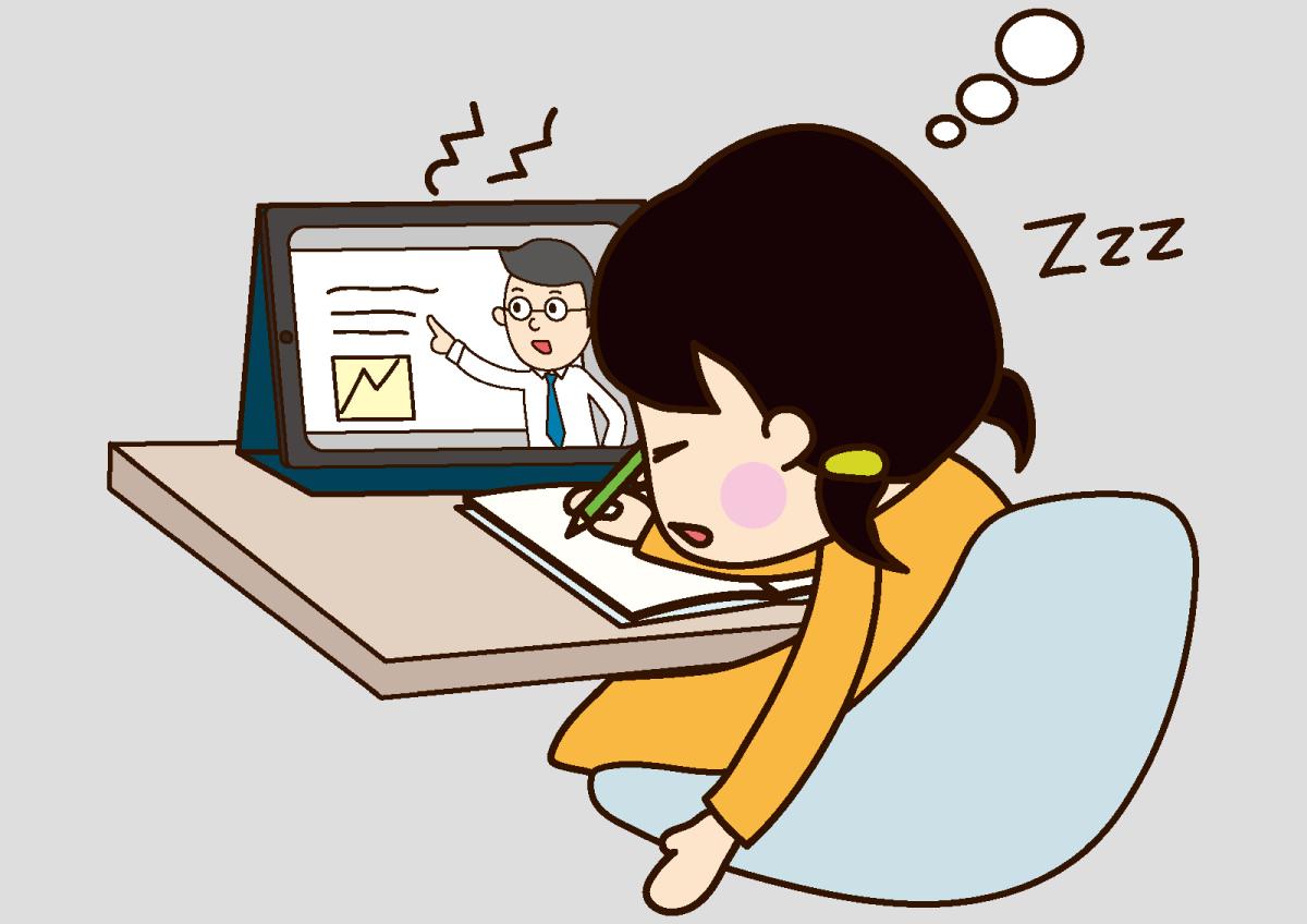 映像授業を再生だけして居眠りする子どものイメージ